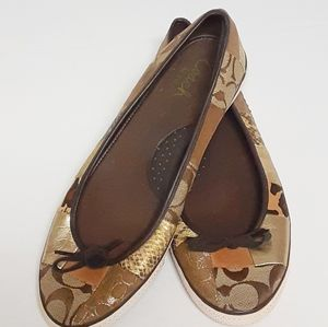 Coach Flats Patchwork Fabric Womens Shoes